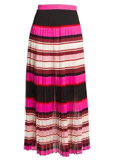 Valentino Baiadera Stripe Silk Midi Skirt
