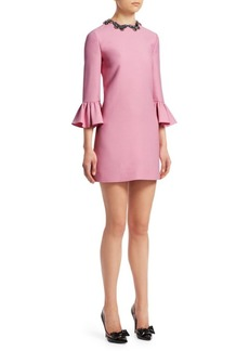 Valentino Beaded Butterfly Collar Shift Dress
