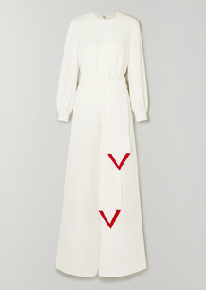 Valentino Belted Silk-cady Wide-leg Jumpsuit