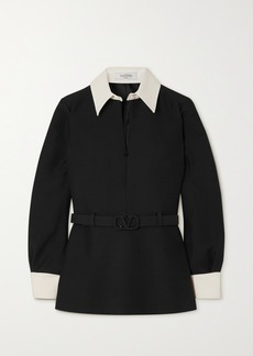 Valentino Belted Two-tone Wool And Silk-blend Crepe Shirt