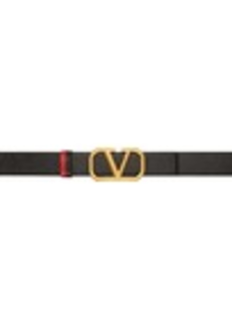 Black & Red Valentino Garavani VLogo Belt
