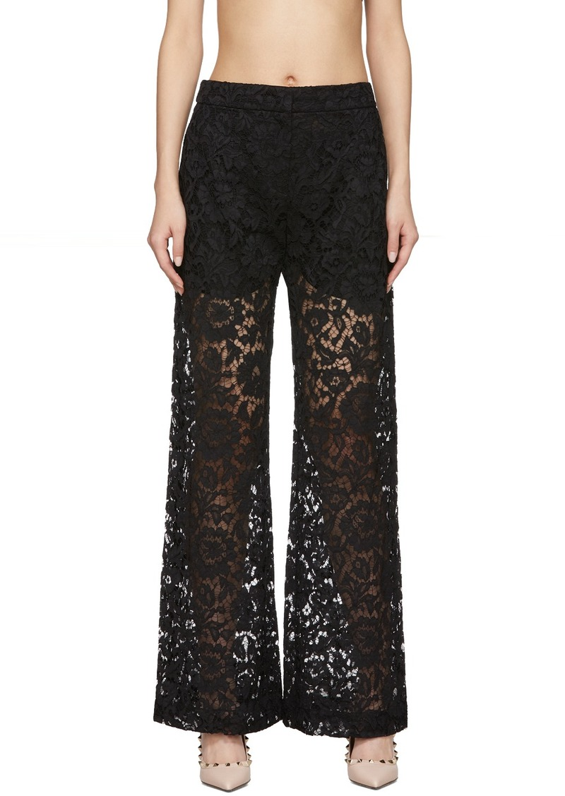 Valentino Black Heavy Lace Trousers
