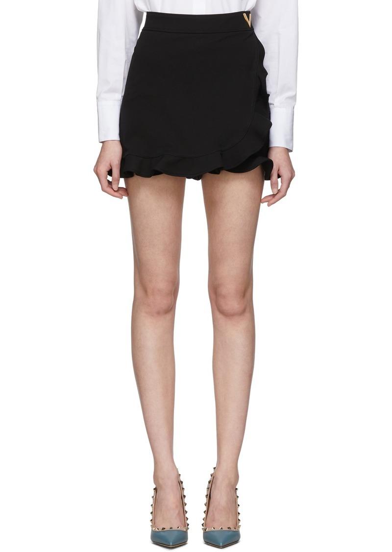 Valentino Black Jersey Ruffle Shorts