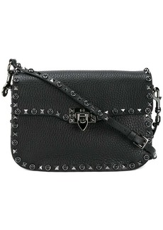 Valentino Black Leather Rockstud Messenger bag