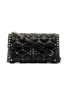 Valentino black Candy medium stud embellished leather shoulder bag