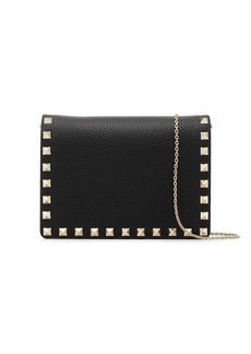 Valentino black Rockstud leather wallet on a chain