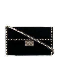 Valentino black Rockstud No Limit stud embellished velvet clutch