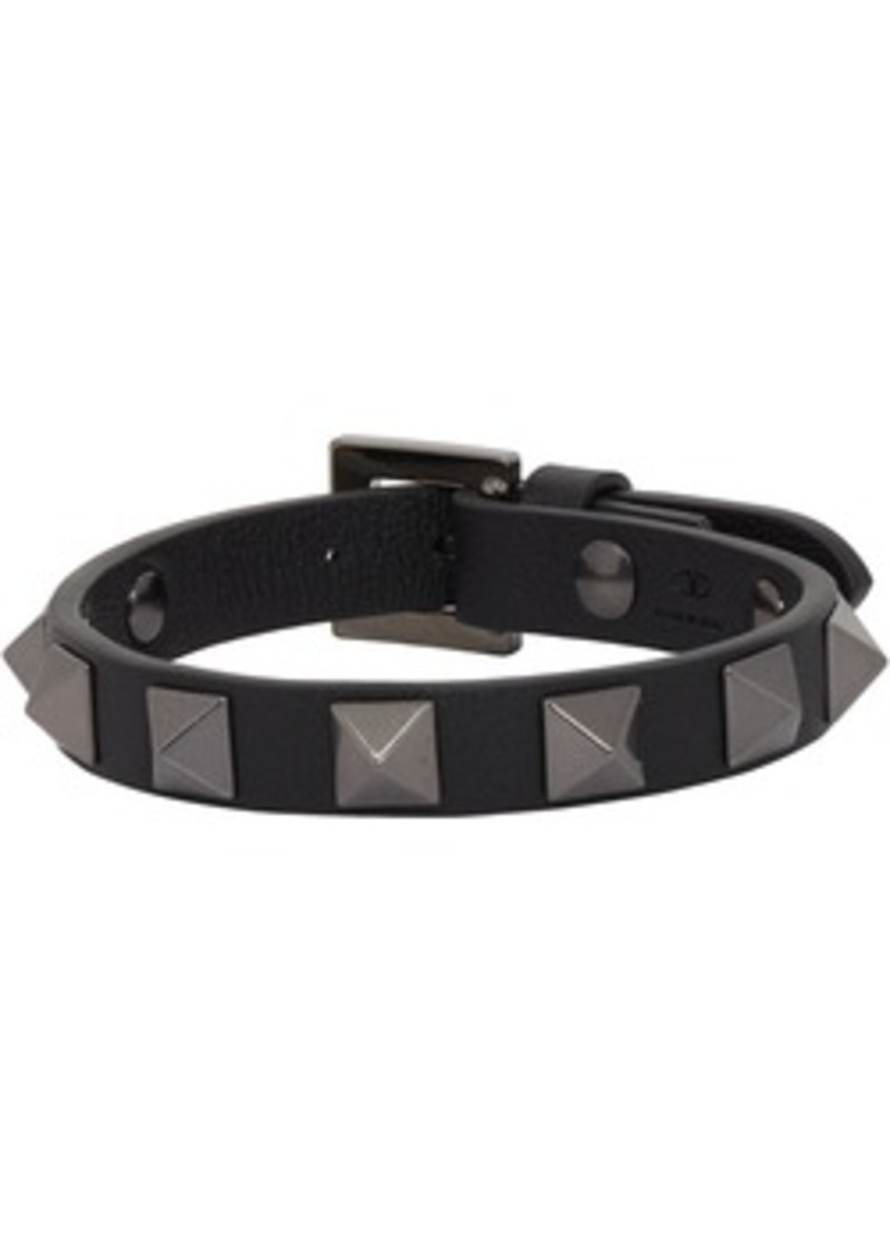 Black Valentino Garavani Leather Tonal Rockstud Bracelet