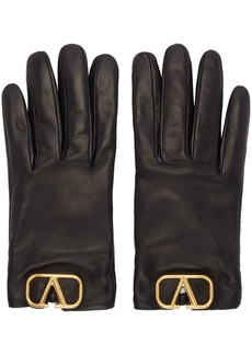 Black Valentino Garavani Leather VLogo Gloves