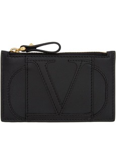 Black Valentino Garavani VLogo Zipped Card Holder