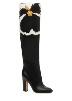 Valentino Bloom Knee-High Leather Boots
