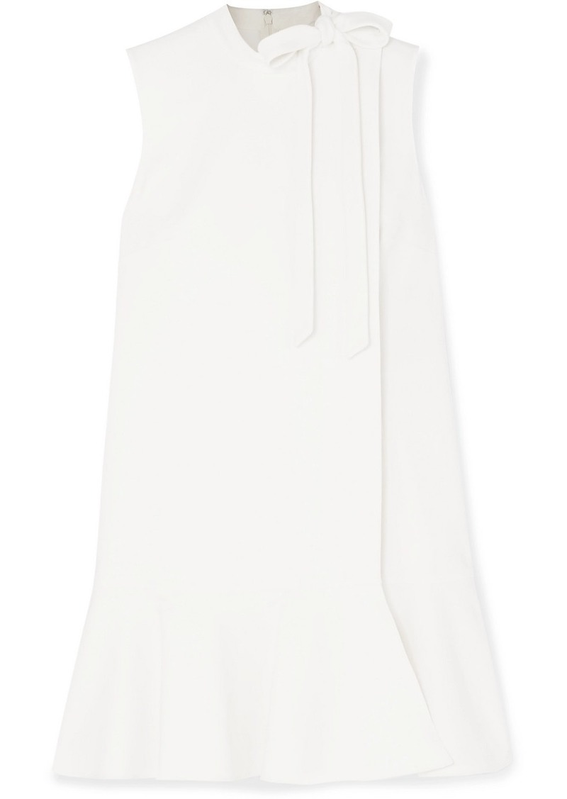 Valentino Bow-detailed Ruffled Wool-blend Crepe Mini Dress