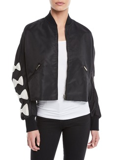 Valentino Bow-Sleeve Zip-Front Nylon Cropped Jacket