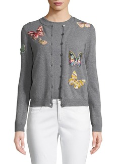 Valentino Butterfly-Embroidered Button-Front Wool-Cashmere Cardigan Set