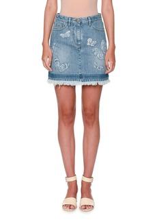 Valentino Butterfly-Embroidered Denim Skirt