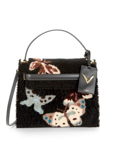 Valentino Butterfly Leather & Shearling Satchel Bag