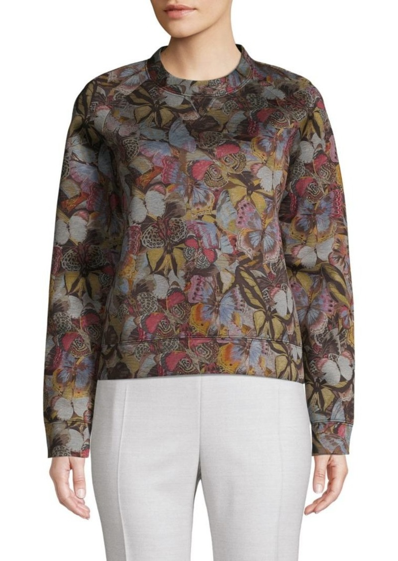 Valentino Butterfly-Print Cotton Blend Sweater