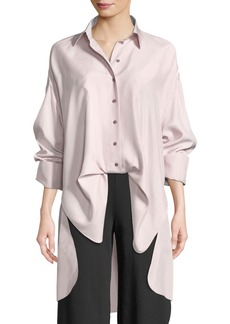 Valentino Button-Front Long-Sleeve Open-Back Oversized Silk Blouse