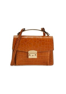 Valentino by Mario Valentino Belle Croc-Embossed Leather Crossbody