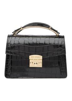 Valentino by Mario Valentino Belle Croc Embossed Leather Handbag