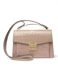 Valentino by Mario Valentino Belle Croc Embossed Leather Mini Satchel