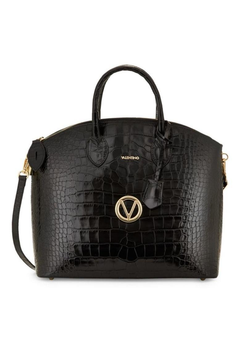 Valentino by Mario Valentino Bravia Croc-Embossed Leather Dome Satchel