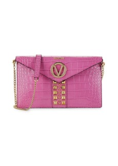 Valentino by Mario Valentino Brienne Croc-Embossed Leather Envelop Crossbody Bag