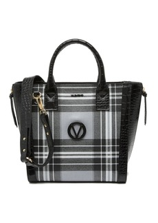 Valentino by Mario Valentino Charmont Tartan Croc Embossed Leather Tote Bag