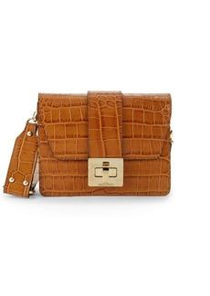 Valentino by Mario Valentino Crocodile Embossed Leather Shoulder Bag