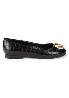 Valentino by Mario Valentino Embossed-Croc Faux Leather Ballet Flats