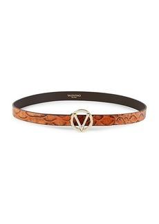 Valentino by Mario Valentino Embossed Crocodile Leather Belt