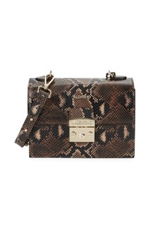 Valentino by Mario Valentino Etienne Python-Print Leather Crossbody Bag