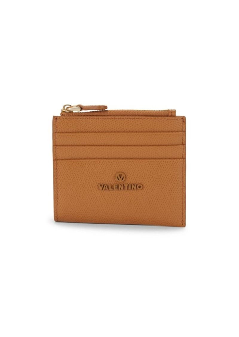 Valentino by Mario Valentino Gia Palmellato Pebbled-Leather Card Holder