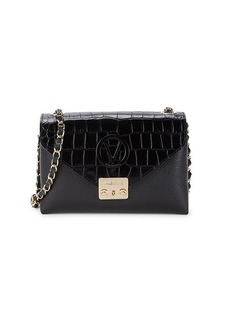 Valentino by Mario Valentino Isebelle Croc-Embossed Leather Chain Shoulder Bag