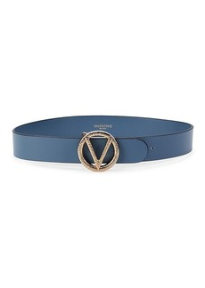 Valentino by Mario Valentino Logo Leather Belt
