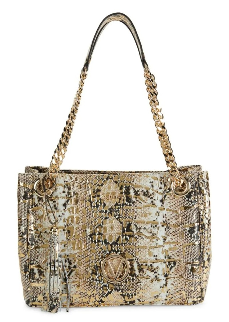 Valentino by Mario Valentino Luisa Embossed-Snakeskin Leather Chain Tote