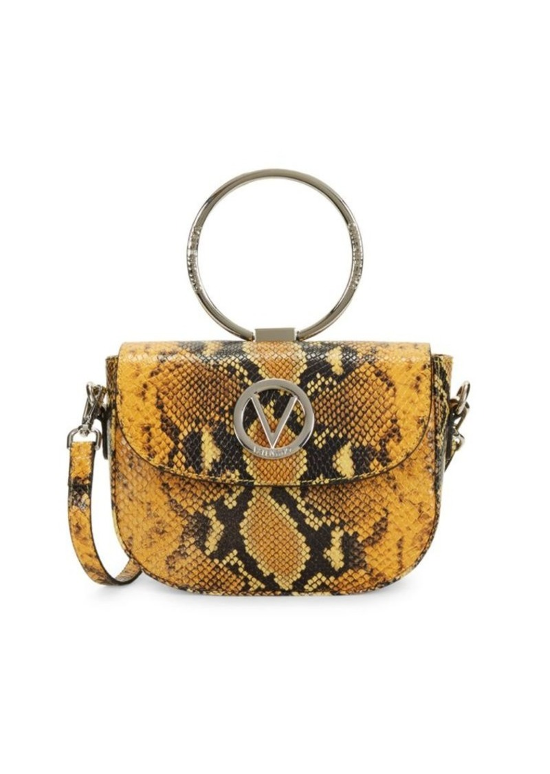 Valentino by Mario Valentino Lunette Python-Embossed Leather Crossbody Bag