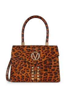 Valentino by Mario Valentino Melanie Animalier Embossed-Leather Leopard Satchel