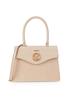 Valentino by Mario Valentino Melanie Croc-Embossed Leather Top Handle Bag