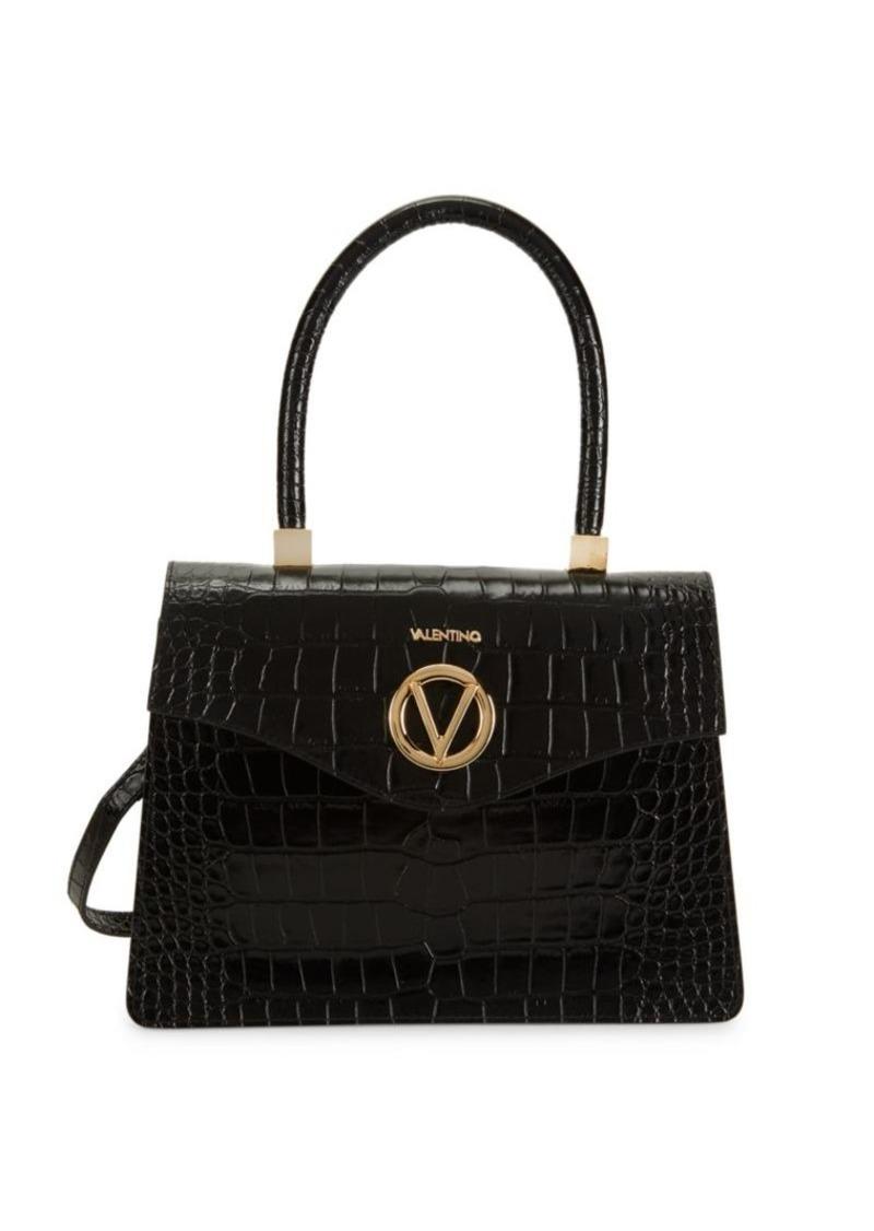 Valentino by Mario Valentino Melanie Croc-Embossed Leather Top Handle Bag
