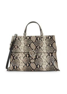 Valentino by Mario Valentino Olympia Python-Embossed Leather Top-Handle Satchel