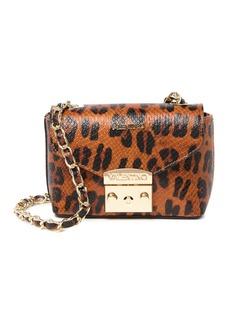 Valentino by Mario Valentino Paulette Embossed Leopard Print Leather Crossbody Bag