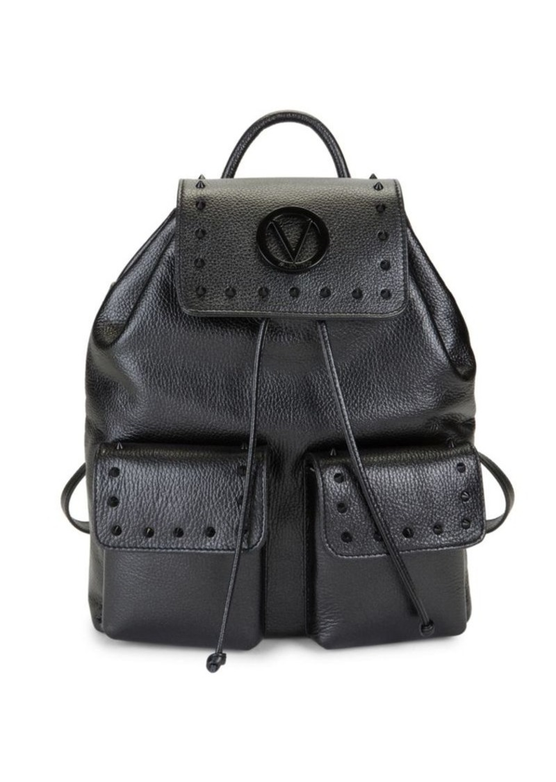 Valentino by Mario Valentino Simeon Rockstud Pebbled-Leather Backpack