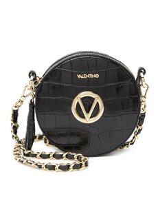 Valentino by Mario Valentino Yuki Croc Embossed Leather Circle Bag