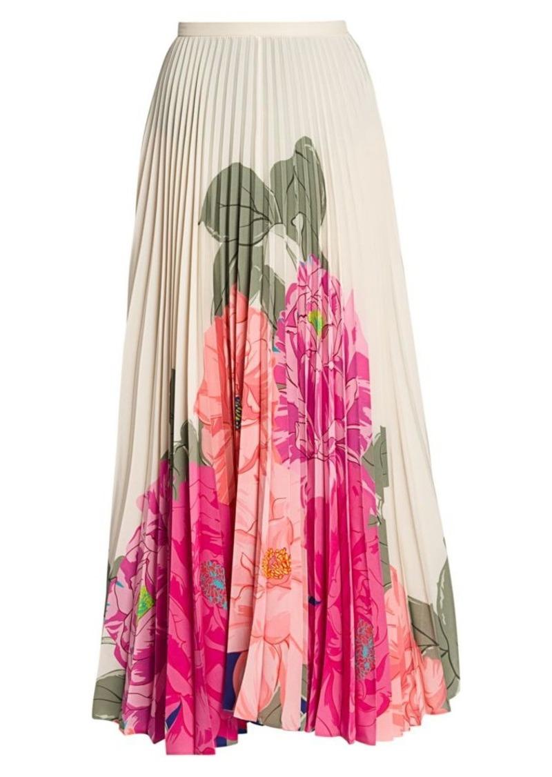 Valentino Camelia Plissé Pleated Floral Silk Maxi Skirt