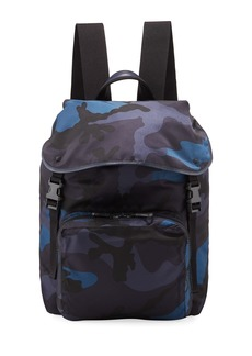 Valentino Camo-Print Nylon Backpack Bag