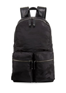 Valentino Camouflage Leather-Trimmed Backpack