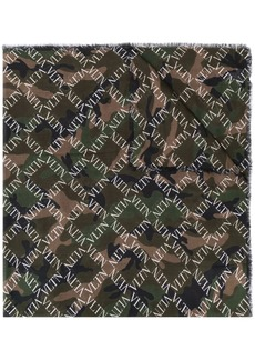 Valentino camouflage logo grid print scarf