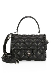 Valentino Candy Stud Leather Top Handle Satchel