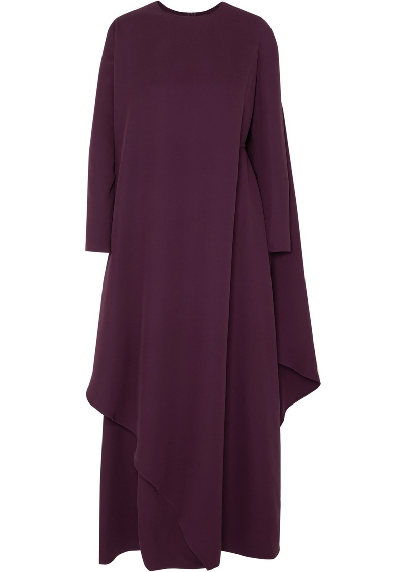 Valentino Cape-effect Asymmetric Silk-cady Gown